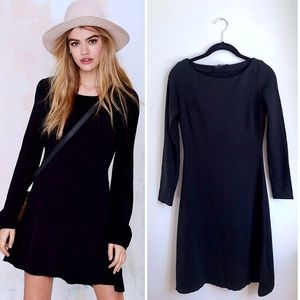 Nasty Gal Black Long - Sleeve Flare Dress Small